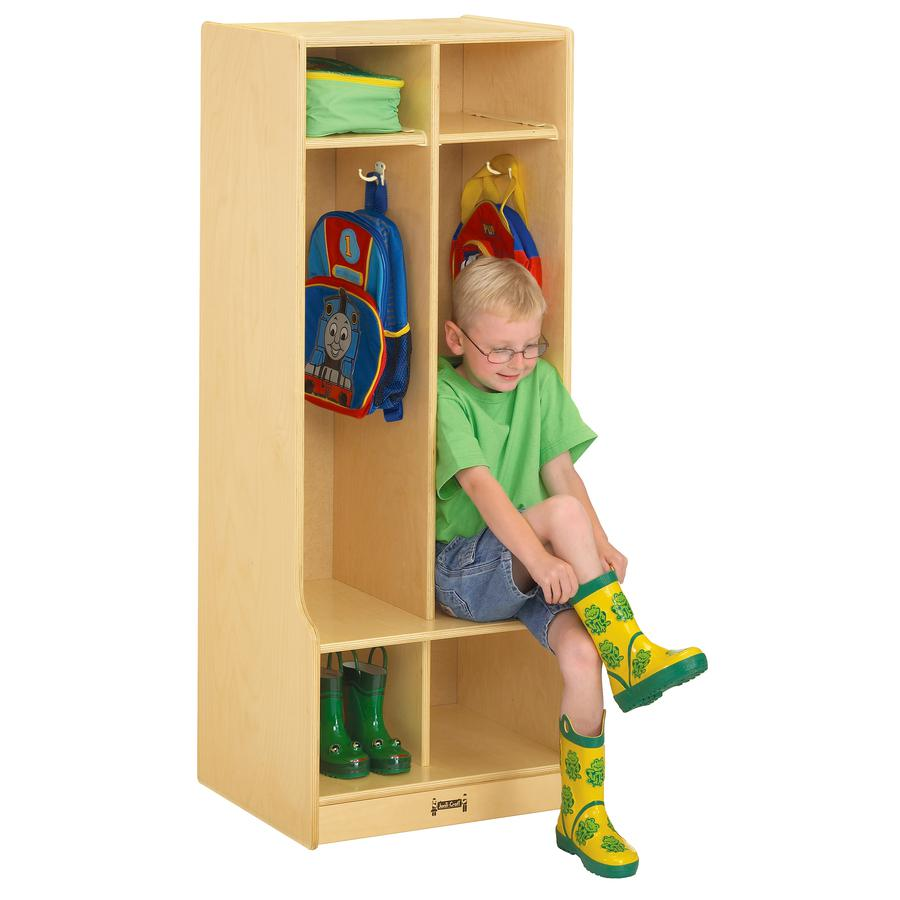 "Jonti-Craft 2 Section Sitting Step Coat Locker - 2 Compartment(s) - 50.5"" Height x 20"" Width x 17.5"" Depth - Baltic - Birch Plywood - 1Each. Picture 3"