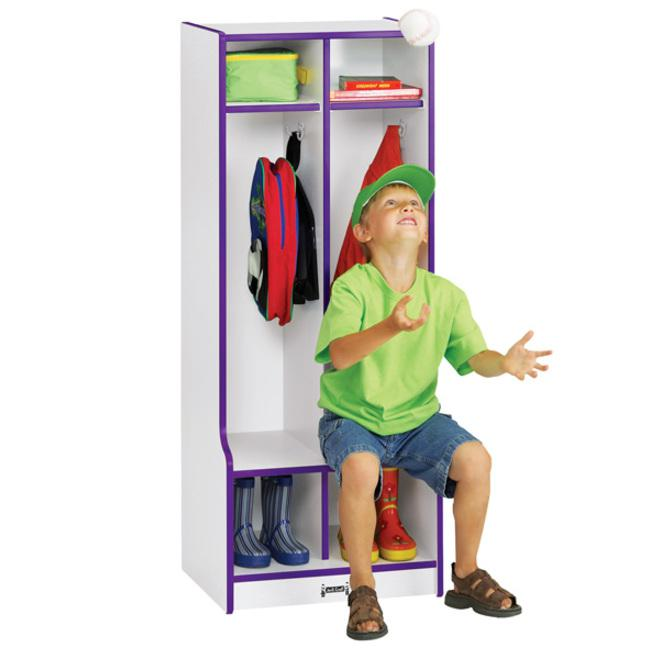 """Rainbow Accents Rainbow Double Coat Hooks Step Locker - 2 Compartment(s) - 50.5"""" Height x 20"""" Width x 17.5"""" Depth - Green - 1Each. Picture 3"""