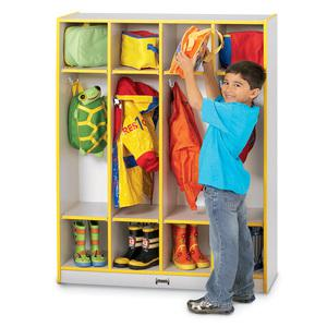 "Rainbow Accents 4 Section Coat Locker - 4 Compartment(s) - 50.5"" Height x 39"" Width x 15"" Depth - Red - 1Each. Picture 2"