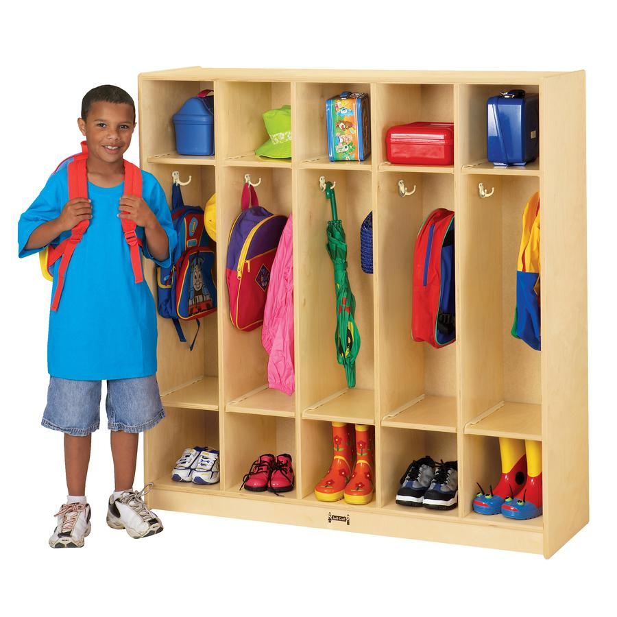 """Jonti-Craft 5 Section Coat Locker - 5 Compartment(s) - 50.5"""" Height x 48"""" Width x 15"""" Depth - Baltic - Birch Plywood - 1Each. Picture 2"""