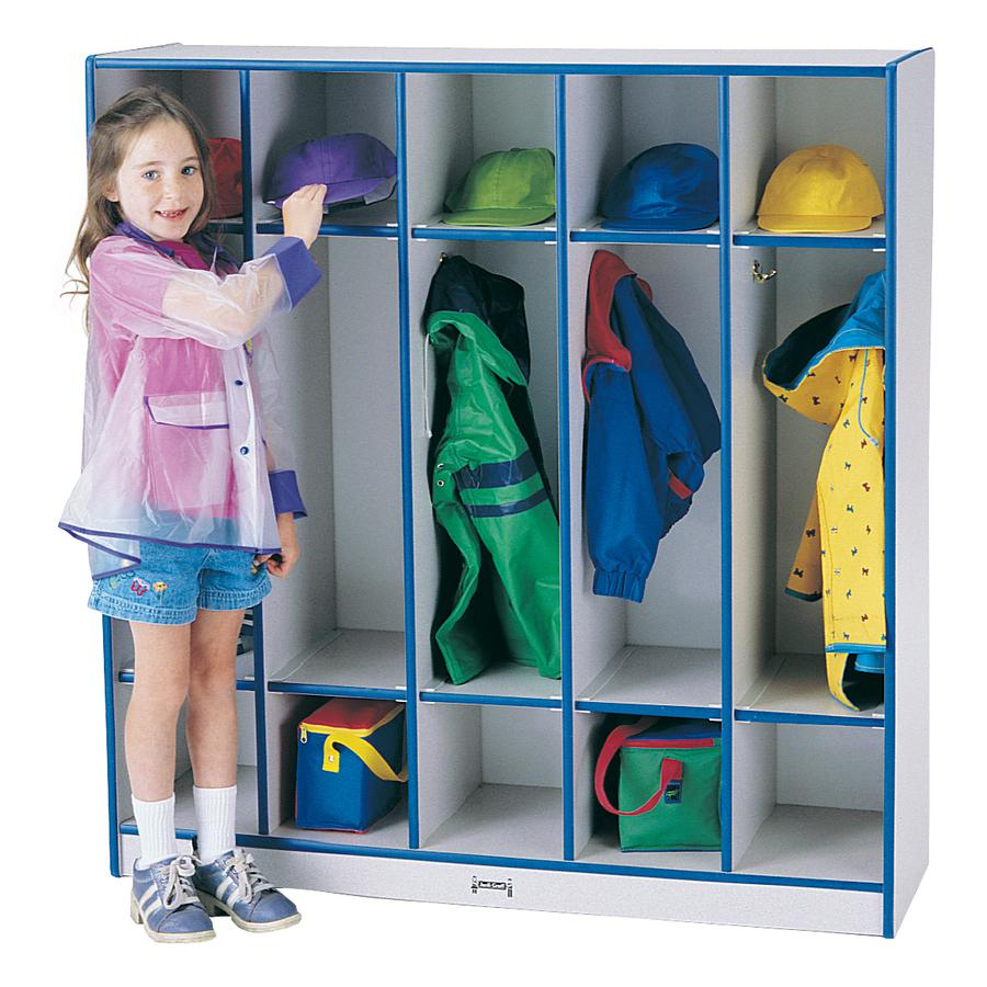 """Jonti-Craft Rainbow Accents 5-section Coat Locker - 5 Compartment(s) - 50.5"""" Height x 48"""" Width x 15"""" Depth - Blue - 1Each. Picture 2"""