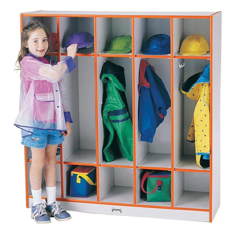 """Rainbow Accents 5-section Coat Locker - 5 Compartment(s) - 50.5"""" Height x 48"""" Width x 15"""" Depth - Orange - 1Each. Picture 4"""
