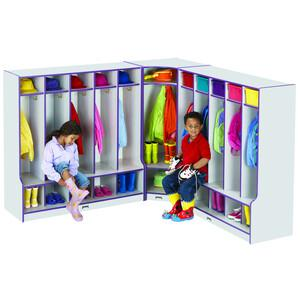 "Jonti-Craft Rainbow Accents 3-double Hooks Step Corner Coat Locker - 50.5"" Height x 24"" Width x 17.5"" Depth - Green - 1Each. Picture 4"