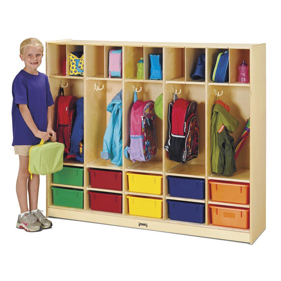 "Jonti-Craft Large Locker Organizer - 4 Tier(s) - 50.5"" Height x 60"" Width x 15"" Depth - Baltic, Assorted Tub - Wood, Medium Density Fiberboard (MDF) - 1Each. Picture 3"