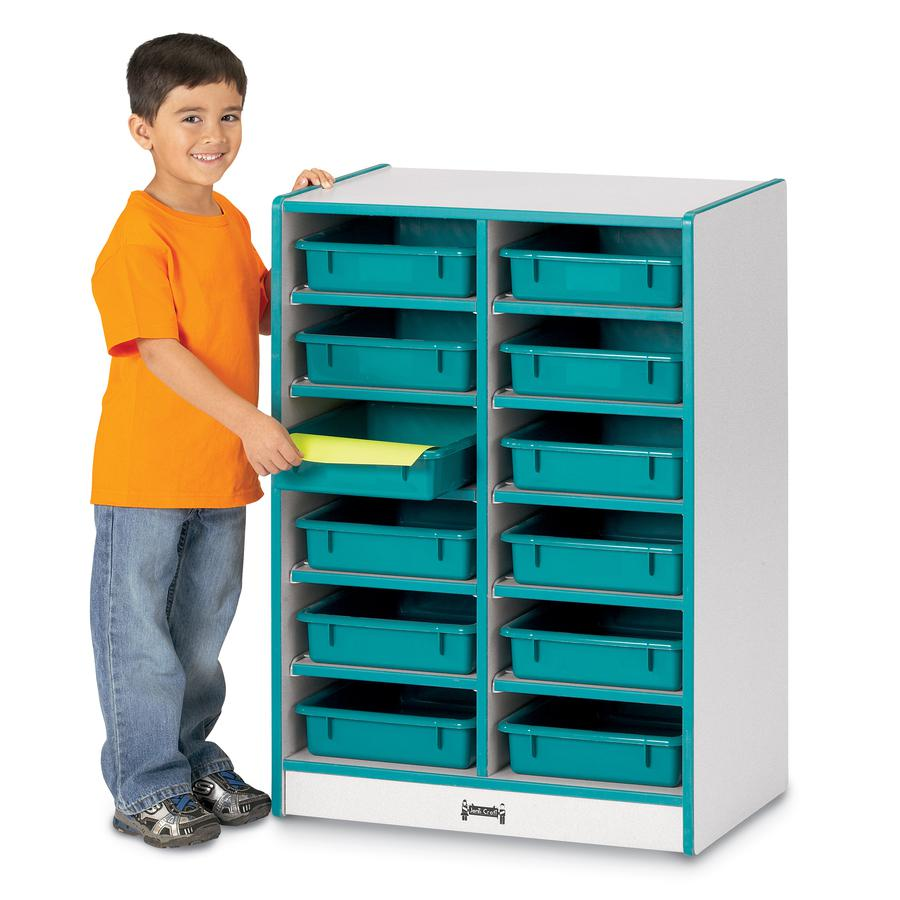 """Rainbow Accents Rainbow Paper Cubbie Mobile Storage - 12 Compartment(s) - 35.5"""" Height x 24.5"""" Width x 15"""" Depth - Green - Rubber - 1Each. Picture 2"""