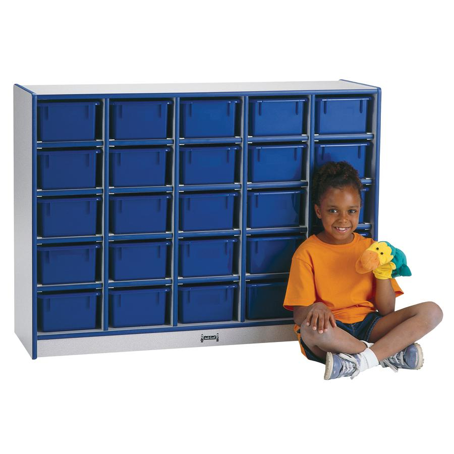 "Rainbow Accents Cubbie Mobile Storage - 25 Compartment(s) - 35.5"" Height x 60"" Width x 15"" Depth - Green - Hard Rubber - 1Each. Picture 2"
