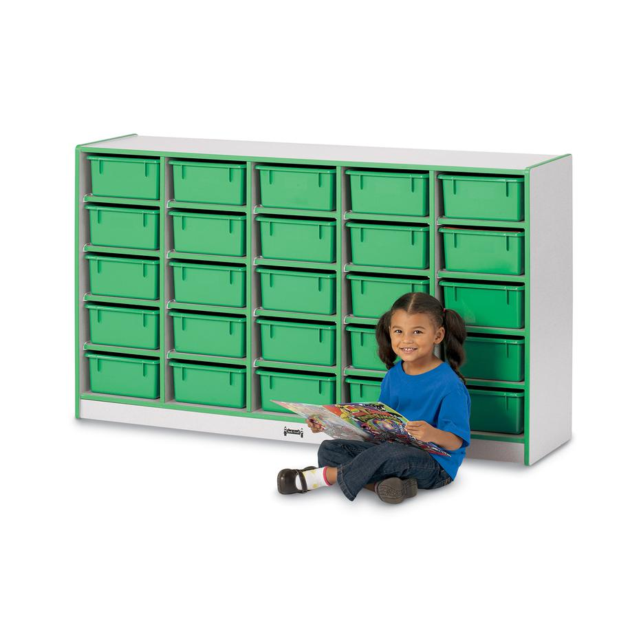 "Jonti-Craft Rainbow Accents Mobile Tub Bin Storage - 25 Compartment(s) - 35.5"" Height x 60"" Width x 15"" Depth - Green - Hard Rubber - 1Each. Picture 5"