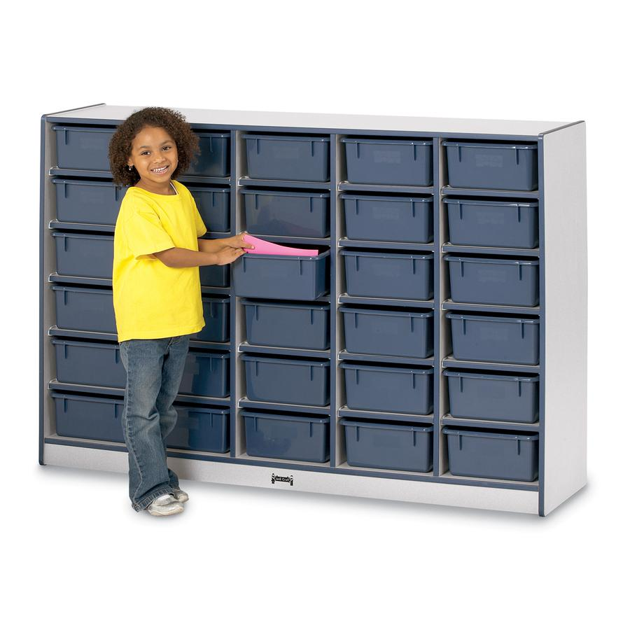 "Rainbow Accents Mobile Tub Bin Storage - 30 Compartment(s) - 42"" Height x 60"" Width x 15"" Depth - Blue - Hard Rubber - 1Each. Picture 5"