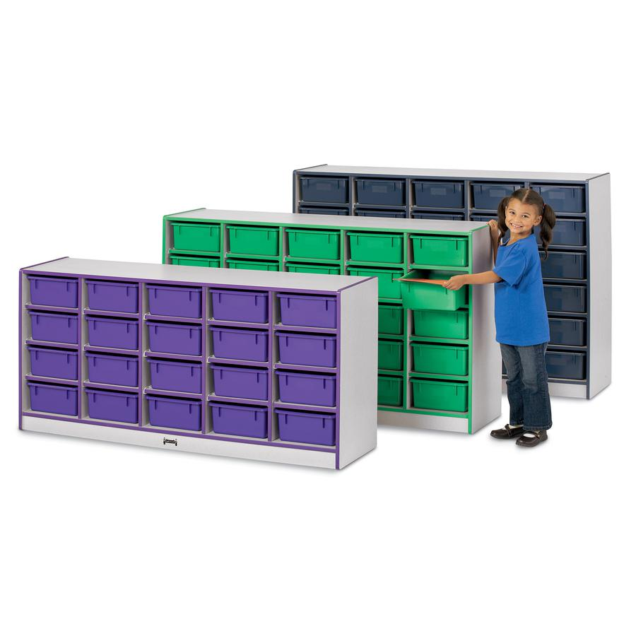 """Rainbow Accents Mobile Tub Bin Storage - 30 Compartment(s) - 42"""" Height x 60"""" Width x 15"""" Depth - Red - Hard Rubber - 1Each. Picture 3"""