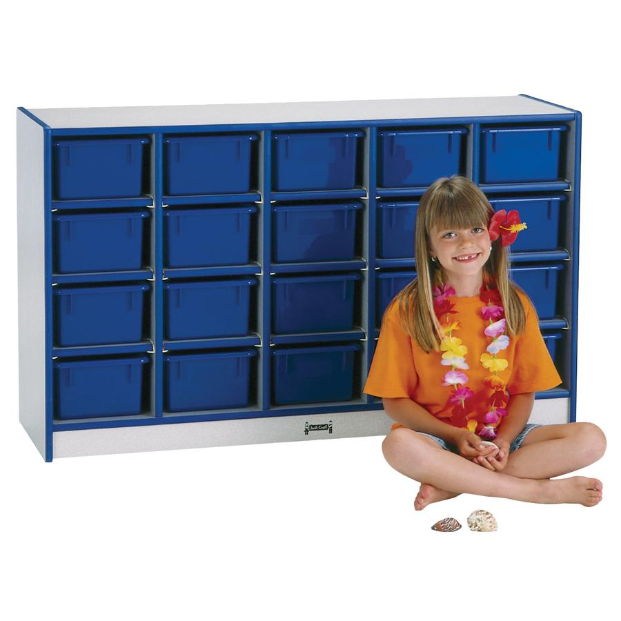 "Rainbow Accents Cubbie Mobile Storage - 20 Compartment(s) - 29.5"" Height x 24.5"" Width x 15"" Depth - Blue - Hard Rubber - 1Each. Picture 3"