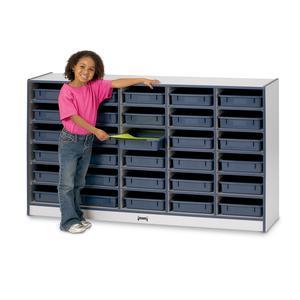 "Rainbow Accents Rainbow Paper Cubbie Mobile Storage - 30 Compartment(s) - 35.5"" Height x 60"" Width x 15"" Depth - Black - Rubber - 1Each. Picture 2"