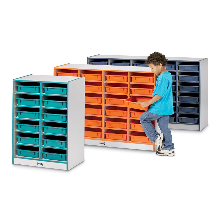 "Rainbow Accents Rainbow Mobile Paper-Tray Storage - 30 Compartment(s) - 35.5"" Height x 60"" Width x 15"" Depth - Orange - Rubber - 1Each. Picture 2"