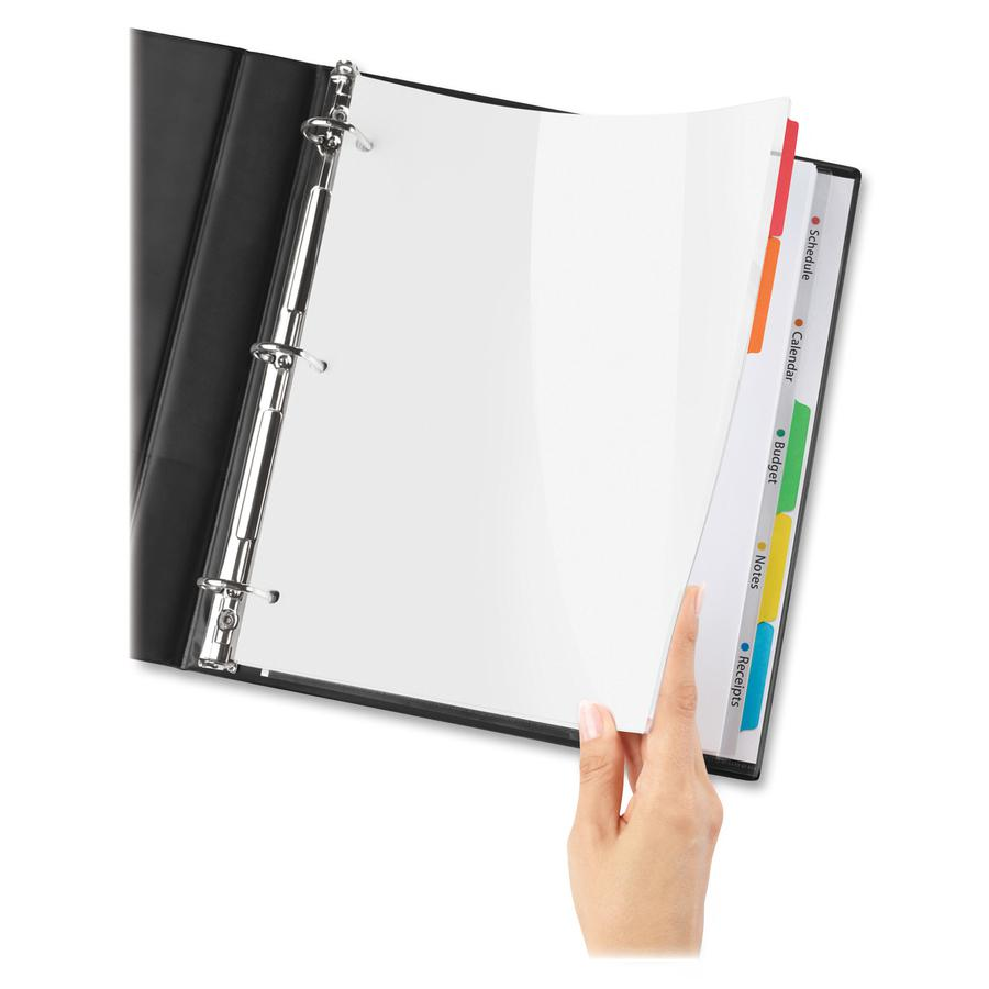 """Avery® Easy View Plastic Dividers - 5 x Divider(s) - 5 - 5 Tab(s)/Set - 8.5"""" Divider Width x 11"""" Divider Length - 3 Hole Punched - Clear Plastic Divider - Multicolor Plastic Tab(s) - 5 / Set. Picture 3"""