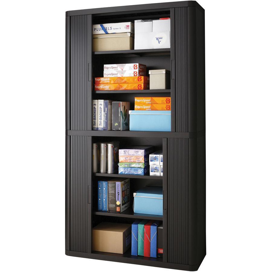 "Paperflow easyOffice 80"" Black Storage Cabinet Top, Back, Base and Shelves - 43.3"" x 16.3"" x 80"" - 6 x Shelf(ves) - 900 lb Load Capacity - Adjustable Shelf, Smooth Edge - Black - Polystyrene, Polyprop. Picture 4"