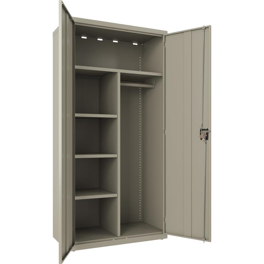 """Lorell Wardrobe Cabinet - 18"""" x 36"""" x 72"""" - 2 x Door(s) - Locking Door - Putty - Steel - Recycled. Picture 3"""