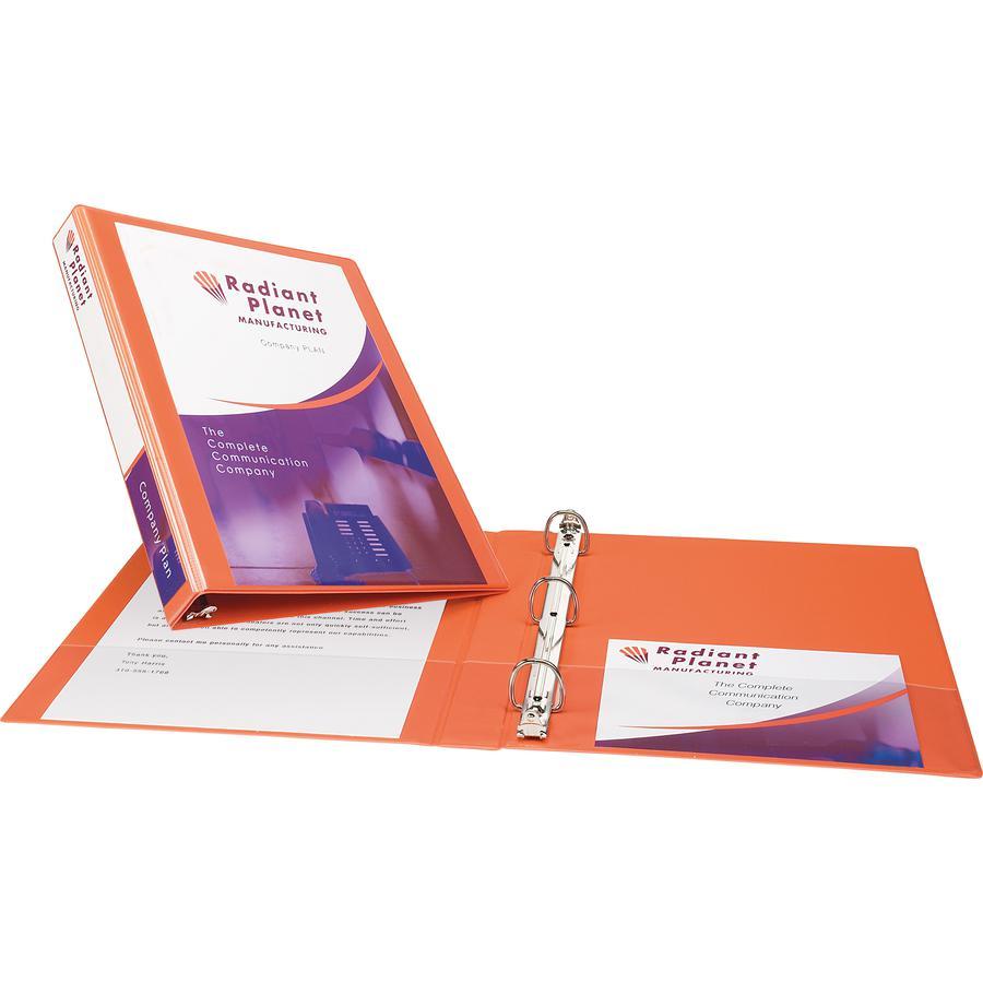 "Avery® Durable View 3 Ring Binder, 1"" Slant Rings, 1 Orange Binder - 1"" Binder Capacity - Letter - 8 1/2"" x 11"" Sheet Size - 250 Sheet Capacity - 3 x Slant Ring Fastener(s) - 2 Pocket(s) - Polypro. Picture 4"