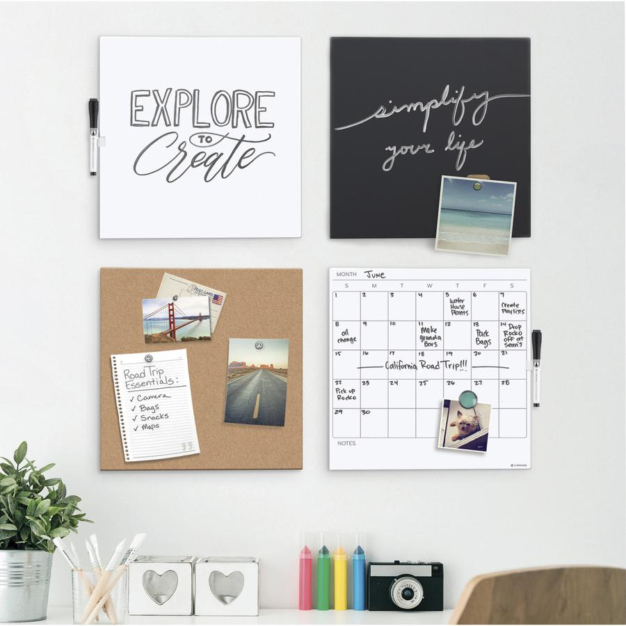 "U Brands Cubicle Magnetic Chalk Tile Board - 14"" (1.2 ft) Width x 14"" (1.2 ft) Height - Black Surface - Square - Wall Mount - 1 Each"