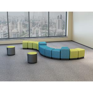 """Lorell Contemporary Seating Round Foot Stool - Green, Gray Fabric Seat - 16.9"""" Width x 16.9"""" Depth x 16.9"""" Height - 1 Each. Picture 4"""