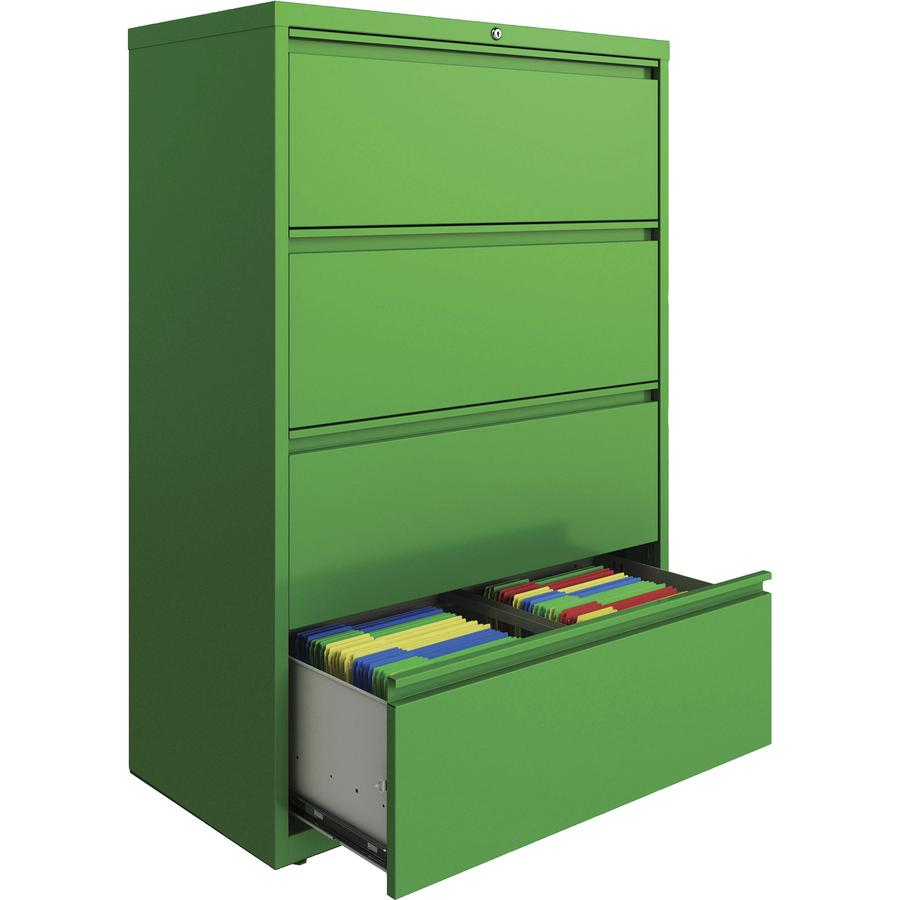 "Lorell 4-drawer Lateral File - 36"" x 18.8"" x 52.5"" - 4 x Drawer(s) for File - Letter, Legal, A4 - Lateral - Hanging Rail, Label Holder, Durable, Nonporous Surface, Removable Lock, Locking Bar, Pull-ou. Picture 2"