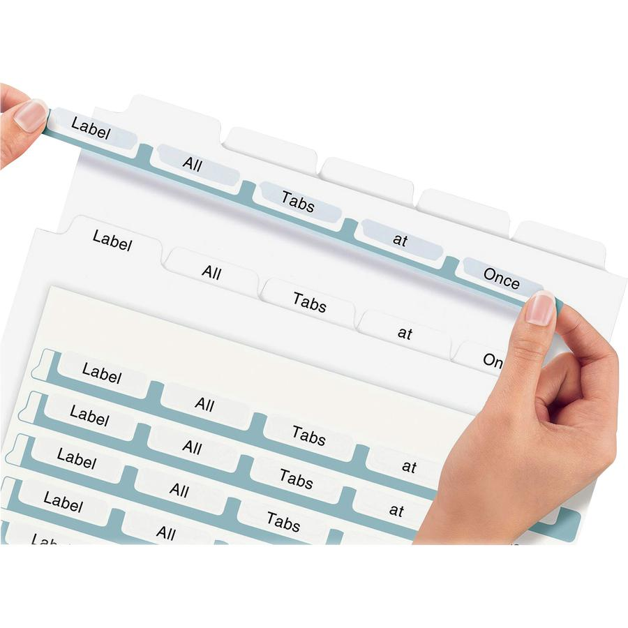 """Avery® Print & Apply Clear Label Dividers - Index Maker Easy Apply Label Strip - 25 x Divider(s) - 5 Tab(s)/Set - 8.5"""" Divider Width x 11"""" Divider Length - Letter - 3 Hole Punched - Clear Paper Di. Picture 3"""