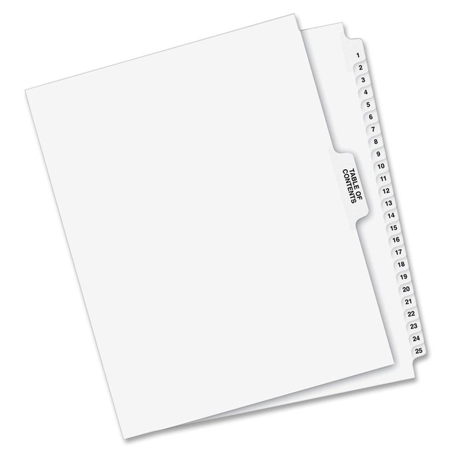 """Avery® Index Divider - 1 x Divider(s) - Side Tab(s) - 1-25, Table of Contents - 26 Tab(s)/Set - Letter - 8 1/2"""" Width x 11"""" Length - Paper Divider - White Tab(s) - 25 / Set. Picture 4"""