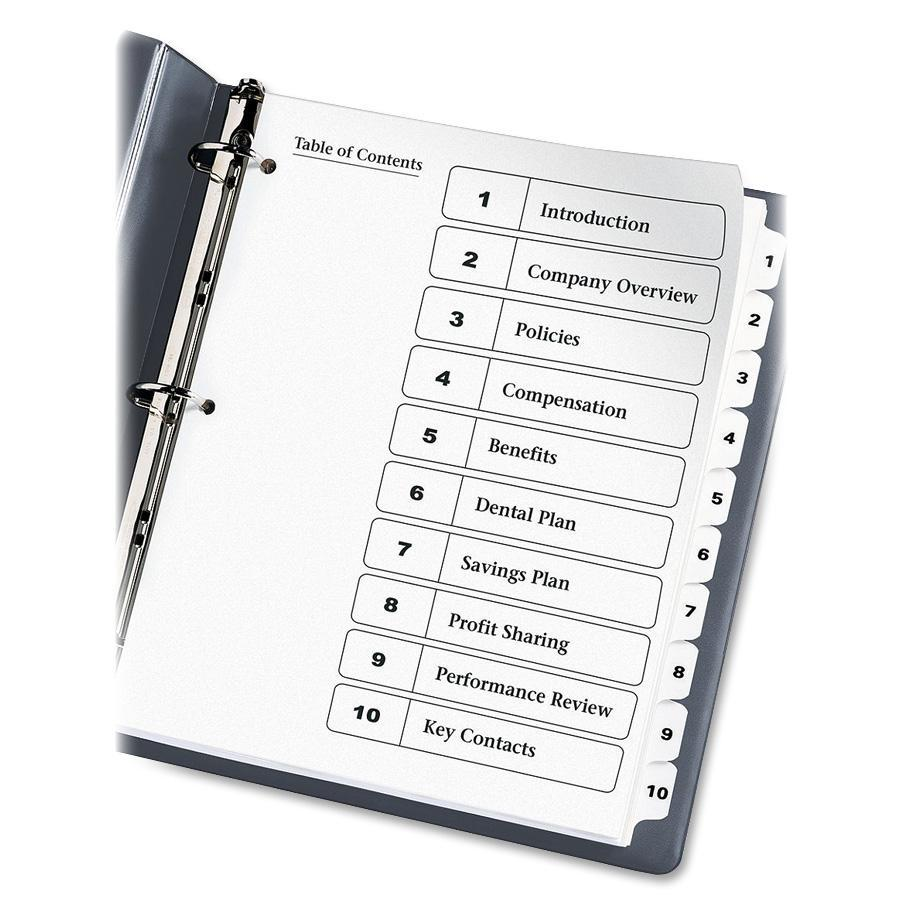 """Avery® Ready Index Classic Tab Binder Dividers - 10 x Divider(s) - 1-10, Table of Contents - 10 Tab(s)/Set - 8.5"""" Divider Width x 11"""" Divider Length - 3 Hole Punched - White Paper Divider - White . Picture 2"""