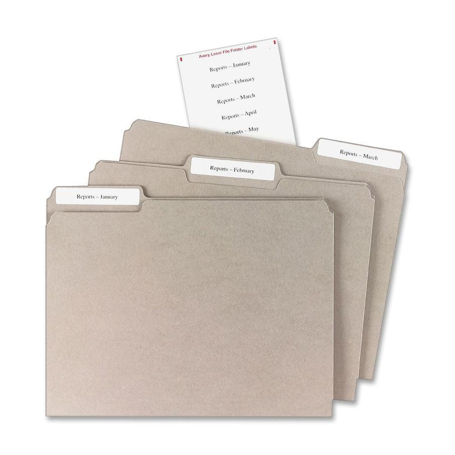 Avery® File Folder Labels - Permanent Adhesive - Rectangle - Laser, Inkjet - White - Paper - 12 / Sheet - 25 Total Sheets - 300 Total Label(s) - 1. Picture 2