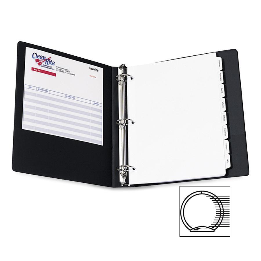"Avery® Economy View Binder - 1 1/2"" Binder Capacity - Letter - 8 1/2"" x 11"" Sheet Size - 275 Sheet Capacity - 3 x Round Ring Fastener(s) - 2 Internal Pocket(s) - Vinyl - Black - 15.84 oz - Gap-fre. Picture 5"
