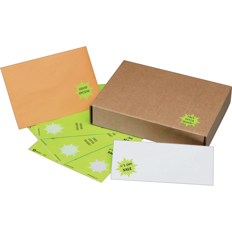 Avery® Neon Burst Labels - Permanent Adhesive - Burst - Laser - Neon Magenta, Neon Green, Neon Yellow - Paper - 24 / Sheet - 15 Total Sheets - 360 Total Label(s) - 360 / Pack. Picture 3