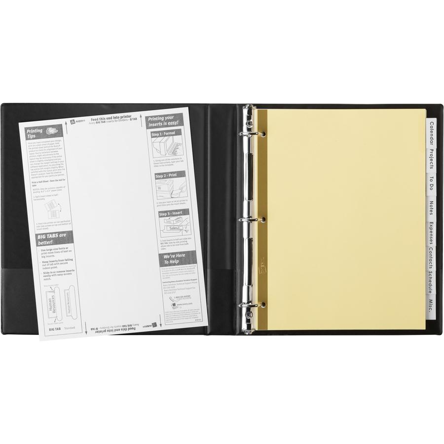 """Avery® Big Tab Insertable Dividers - Reinforced Gold Edge - 8 Blank Tab(s) - 8 Tab(s)/Set - 8.5"""" Divider Width x 11"""" Divider Length - Letter - 3 Hole Punched - Buff Paper Divider - Clear Tab(s) - . Picture 3"""