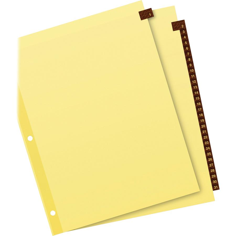 """Avery® Preprinted Tab Dividers - Gold Reinforced Edge - 31 x Divider(s) - Printed Tab(s) - Digit - 1-31 - 31 Tab(s)/Set - 8.5"""" Divider Width x 11"""" Divider Length - Letter - 3 Hole Punched - Buff P. Picture 3"""