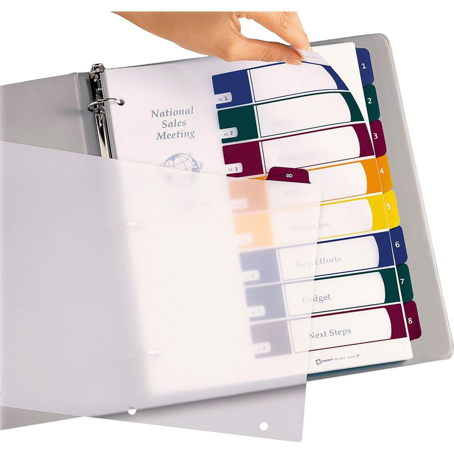 """Avery® Ready Index Customizable TOC Binder Dividers - 8 x Divider(s) - 8 Tab(s) - 1-8, Table of Contents - 8 Tab(s)/Set - 8.5"""" Divider Width x 11"""" Divider Length - 3 Hole Punched - Clear Plastic D. Picture 2"""