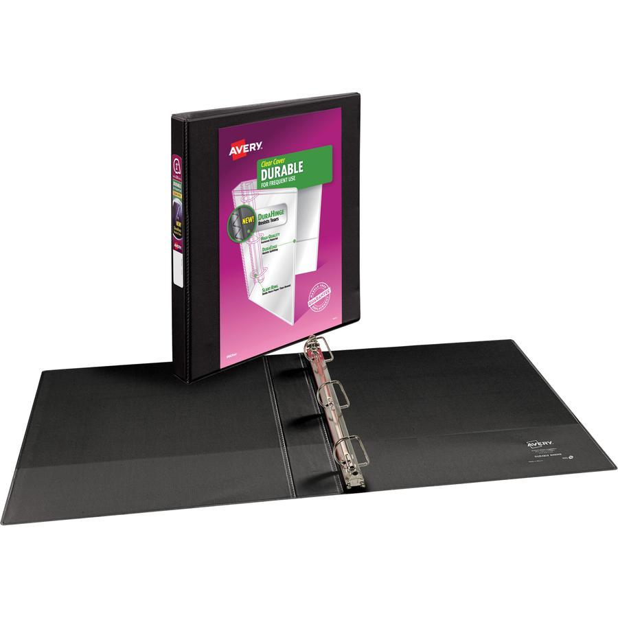 "Avery® Durable View 3 Ring Binder - 1"" Binder Capacity - Letter - 8 1/2"" x 11"" Sheet Size - 250 Sheet Capacity - 3 x Slant Ring Fastener(s) - 2 Internal Pocket(s) - Polypropylene - Black - Recycle. Picture 3"