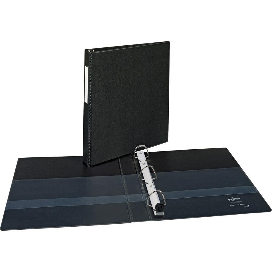 "Avery® Durable Binder - DuraHinge - 1"" Binder Capacity - Letter - 8 1/2"" x 11"" Sheet Size - 220 Sheet Capacity - 3 x Slant D-Ring Fastener(s) - 2 Internal Pocket(s) - Black - Recycled - Gap-free R. Picture 4"