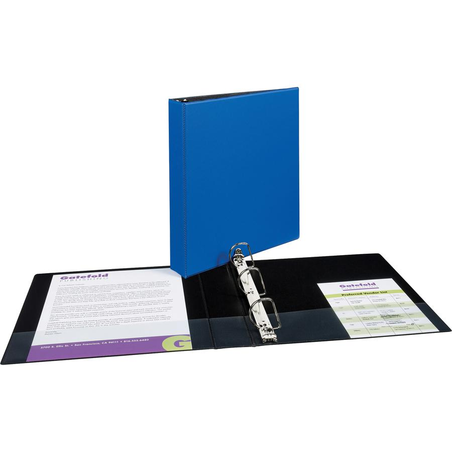 """Avery® Durable Binder - DuraHinge - 1 1/2"""" Binder Capacity - Letter - 8 1/2"""" x 11"""" Sheet Size - 375 Sheet Capacity - 3 x Slant D-Ring Fastener(s) - 2 Internal Pocket(s) - Blue - Recycled - Gap-fre. Picture 5"""
