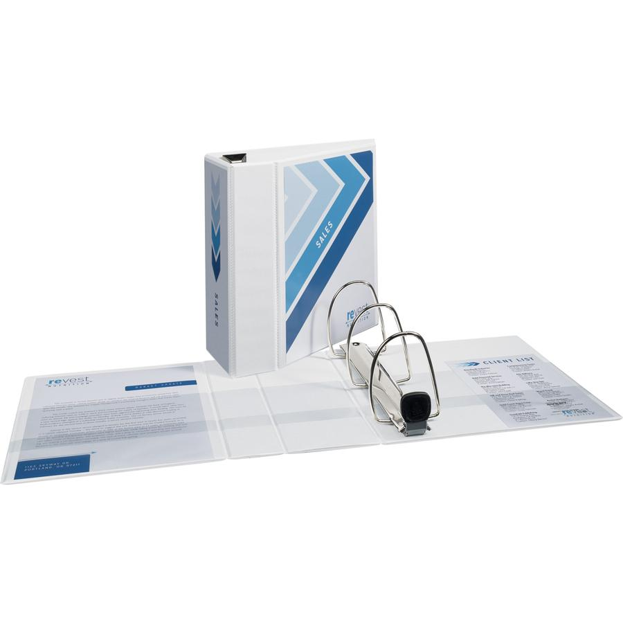 """Avery® Heavy-Duty View 3 Ring Binder - 5"""" Binder Capacity - Letter - 8 1/2"""" x 11"""" Sheet Size - 1050 Sheet Capacity - 3 x Ring Fastener(s) - 4 Internal Pocket(s) - Polypropylene - White - Recycled . Picture 3"""