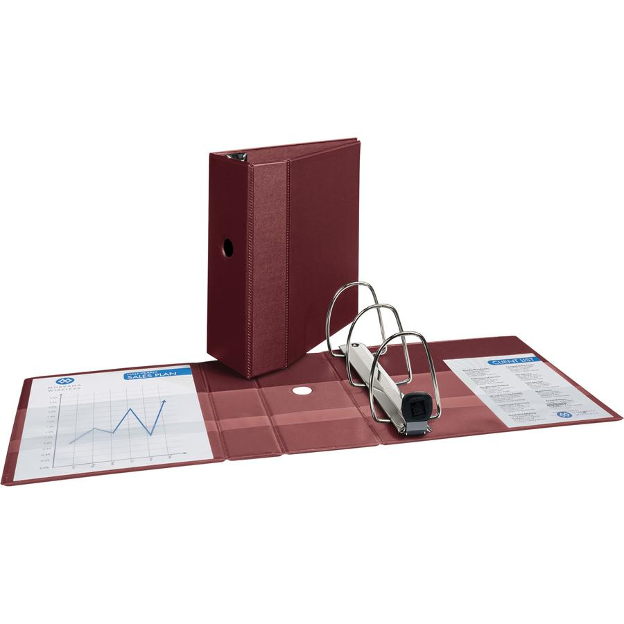 """Avery® 5"""" Heavy-Duty Binder - 5"""" Binder Capacity - Letter - 8 1/2"""" x 11"""" Sheet Size - 1050 Sheet Capacity - Ring Fastener(s) - 4 Internal Pocket(s) - Polypropylene - Maroon - Recycled - Pocket, He. Picture 5"""