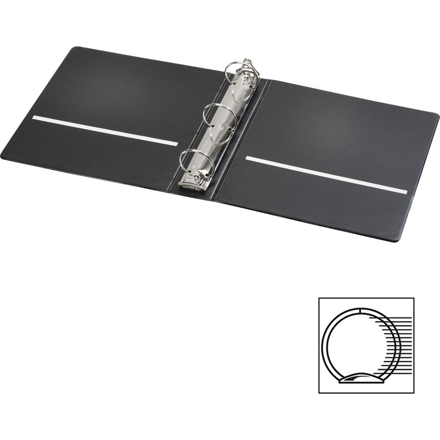 "Cardinal Spine Vue Locking Round Ring Binder - 2"" Binder Capacity - Letter - 8 1/2"" x 11"" Sheet Size - 450 Sheet Capacity - 3 x Round Ring Fastener(s) - 2 Inside Front & Back Pocket(s) - Vinyl - Black. Picture 7"