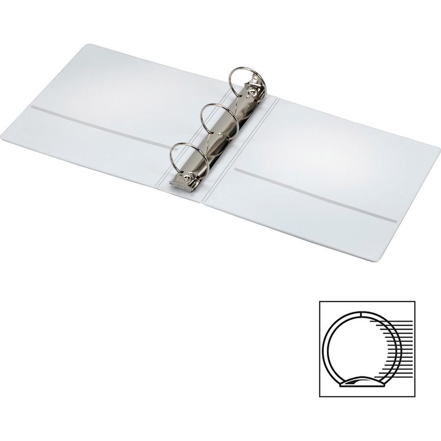 "Cardinal Spine Vue Locking Round Ring Binder - 3"" Binder Capacity - Letter - 8 1/2"" x 11"" Sheet Size - 625 Sheet Capacity - 3 x Round Ring Fastener(s) - 2 Inside Front & Back Pocket(s) - Vinyl - White. Picture 3"