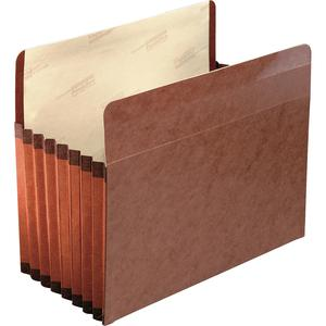 """Pendaflex Straight Tab Cut Letter Recycled File Pocket - 8 1/2"""" x 11"""" - 7"""" Expansion - Red Fiber - Red Fiber - 30% - 5 / Box. Picture 2"""