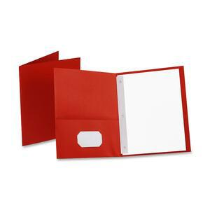 """Oxford Letter Recycled Pocket Folder - 8 1/2"""" x 11"""" - 85 Sheet Capacity - 3 Fastener(s) - 1/2"""" Fastener Capacity for Folder - 2 Inside Front & Back Pocket(s) - Leatherette Paper - Red - 10% Recycled. Picture 2"""