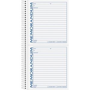 """TOPS Memorandum Forms Book - 100 Sheet(s) - Spiral Bound - 2 PartCarbonless Copy - 5.50"""" x 5"""" Form Size - 5 1/2"""" x 11"""" Sheet Size - White, Canary - Assorted Sheet(s) - Blue, Red Print Color - 1 Each. Picture 4"""