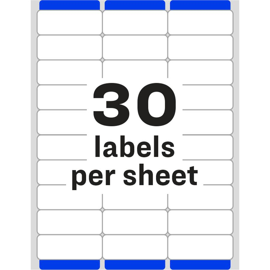 Avery® Easy Peel Address Labels - Sure Feed Technology - Permanent Adhesive - Rectangle - Laser, Inkjet - White - Paper - 30 / Sheet - 10 Total Sheets - 300 Total Label(s) - 300 / Pack. Picture 2