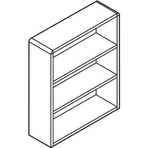 "HON Valido 3-Shelf Bookcase, 36""W - 36"" x 13.1"" x 43.6"" x 1.5"" - 3 Shelve(s) - Ribbon Edge - Material: Particleboard - Finish: Mahogany. Picture 5"
