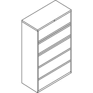 """HON Brigade 800 Series 5-Drawer Lateral - 42"""" x 18"""" x 64.3"""" - 2 x Shelf(ves) - 5 x Drawer(s) for File - A4, Legal, Letter - Lateral - Interlocking, Durable, Label Holder, Leveling Glide, Recessed Hand. Picture 2"""
