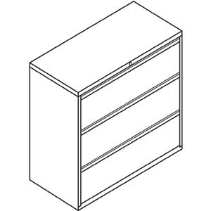 """HON Brigade 800 Series 3-Drawer Lateral - 42"""" x 18"""" x 39.1"""" - 3 x Drawer(s) for File - A4, Legal, Letter - Interlocking, Durable, Label Holder, Leveling Glide, Recessed Handle, Ball-bearing Suspension. Picture 3"""