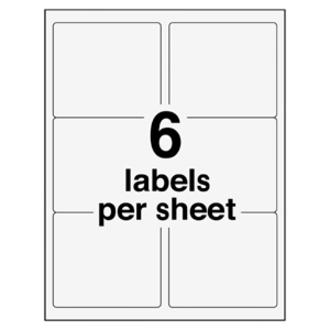 Avery® EcoFriendly Shipping Label - Water Based Adhesive - Rectangle - Laser, Inkjet - White - Paper - 6 / Sheet - 100 Total Sheets - 600 Total Label(s) - 600 / Box. Picture 3