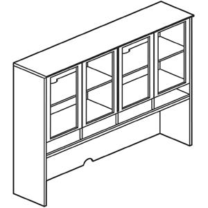 """Glass Door Hutch - 72"""" Width x 15"""" Depth x 50.5"""" Height - Veneer, Wood - Sierra Cherry. Picture 3"""