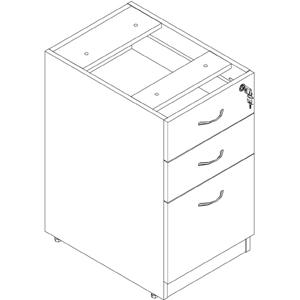 """Lorell Essentials Hanging Fixed Pedestal - 3-Drawer - 15.5"""" x 21.9"""" x 28.5"""" - 3 x Box Drawer(s), File Drawer(s) - Material: Polyvinyl Chloride (PVC) Edge, Metal Pull - Finish: Laminate, Cherry, Silver. Picture 4"""