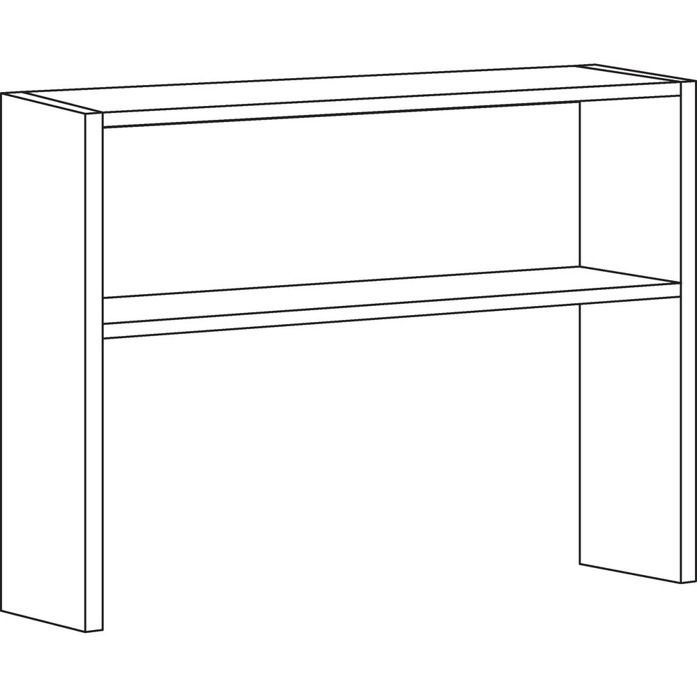 """Lorell Modular Desk Series Black Stack-on Hutch - 48"""" - Material: Steel - Finish: Black. Picture 2"""